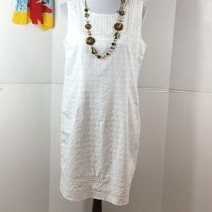 Talbots white embroidered shift dress